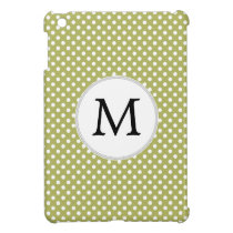 Personalized Monogram Olive Polka Dots Pattern Case For The iPad Mini