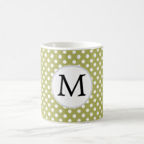 Personalized Monogram Olive Polka Dots Pattern Coffee Mug