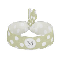 Personalized Monogram Olive Polka Dots Pattern Elastic Hair Tie