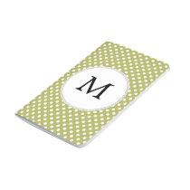 Personalized Monogram Olive Polka Dots Pattern Journal