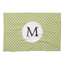 Personalized Monogram Olive Polka Dots Pattern Kitchen Towel