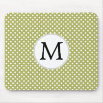Personalized Monogram Olive Polka Dots Pattern Mouse Pad