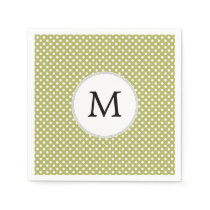 Personalized Monogram Olive Polka Dots Pattern Napkin