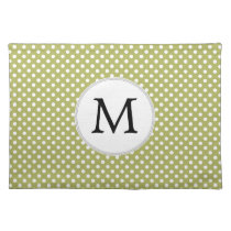 Personalized Monogram Olive Polka Dots Pattern Placemat