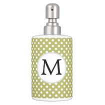 Personalized Monogram Olive Polka Dots Pattern Soap Dispenser & Toothbrush Holder