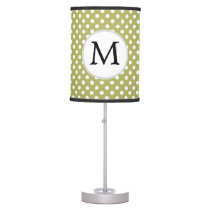 Personalized Monogram Olive Polka Dots Pattern Table Lamp