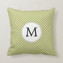 Personalized Monogram Olive Polka Dots Pattern Throw Pillow
