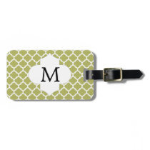 Personalized Monogram Olive Quatrefoil Pattern Bag Tag