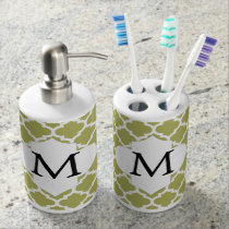Personalized Monogram Olive Quatrefoil Pattern Bathroom Set