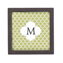 Personalized Monogram Olive Quatrefoil Pattern Gift Box