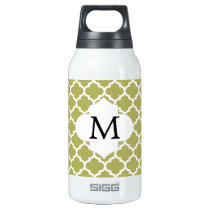 Personalized Monogram Olive Quatrefoil Pattern Insulated Water Bottle