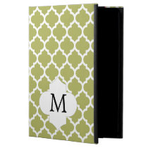 Personalized Monogram Olive Quatrefoil Pattern iPad Air Cover
