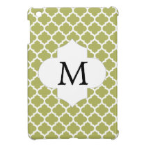Personalized Monogram Olive Quatrefoil Pattern iPad Mini Covers