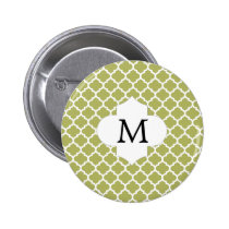 Personalized Monogram Olive Quatrefoil Pattern Pinback Button