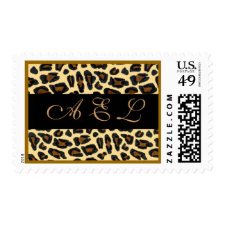 Personalized Monogram on Leopard Fur Postage Stamp