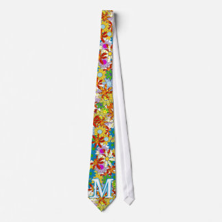 Personalized Monogram or Name Floral Pattern Neck Tie