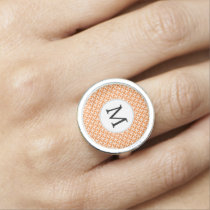 Personalized Monogram Orange double rings pattern