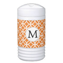 Personalized Monogram Orange Double Rings pattern Beverage Cooler