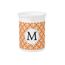 Personalized Monogram Orange double rings pattern Beverage Pitcher