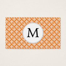 Personalized Monogram Orange double rings pattern Business Card