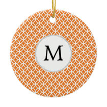 Personalized Monogram Orange double rings pattern Ceramic Ornament