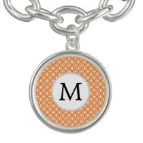 Personalized Monogram Orange double rings pattern Charm Bracelet