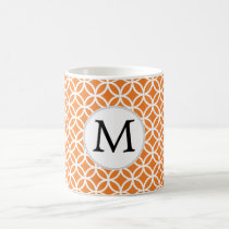 Personalized Monogram Orange double rings pattern Coffee Mug
