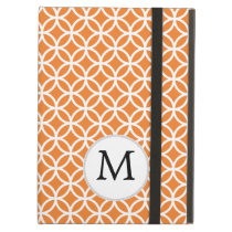 Personalized Monogram Orange double rings pattern Cover For iPad Air