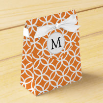 Personalized Monogram Orange double rings pattern Favor Box