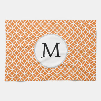 Personalized Monogram Orange double rings pattern Hand Towels