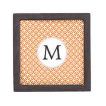 Personalized Monogram Orange double rings pattern Jewelry Box