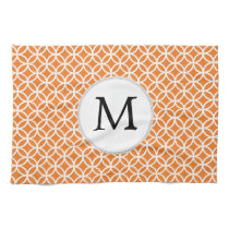 Personalized Monogram Orange double rings pattern Kitchen Towel