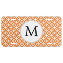 Personalized Monogram Orange Double Rings pattern License Plate