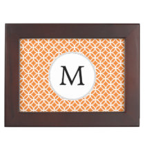 Personalized Monogram Orange double rings pattern Memory Box