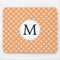 Personalized Monogram Orange double rings pattern Mouse Pad