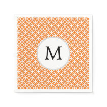 Personalized Monogram Orange double rings pattern Paper Napkin
