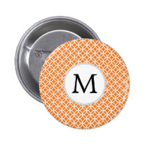 Personalized Monogram Orange double rings pattern Pinback Button