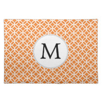 Personalized Monogram Orange double rings pattern Placemat