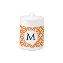 Personalized Monogram Orange double rings pattern Teapot