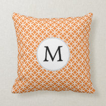 Personalized Monogram Orange double rings pattern Throw Pillow