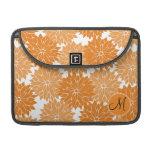 Personalized Monogram Orange Flower Blossoms Sleeve For MacBook Pro