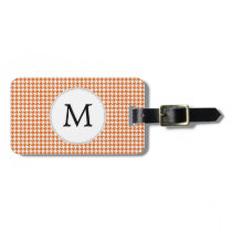 Personalized Monogram Orange Houndstooth Pattern Bag Tag