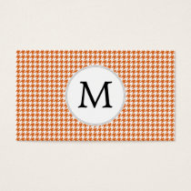 Personalized Monogram Orange Houndstooth Pattern Business Card