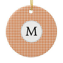 Personalized Monogram Orange Houndstooth Pattern Ceramic Ornament