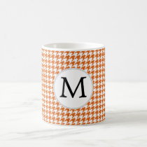 Personalized Monogram Orange Houndstooth Pattern Coffee Mug