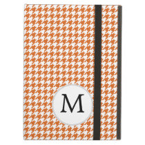 Personalized Monogram Orange Houndstooth Pattern iPad Air Cases