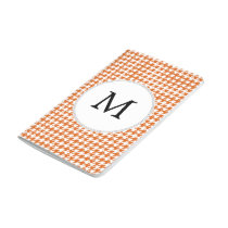 Personalized Monogram Orange Houndstooth Pattern Journal