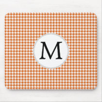 Personalized Monogram Orange Houndstooth Pattern Mouse Pad