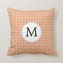 Personalized Monogram Orange Houndstooth Pattern Throw Pillow