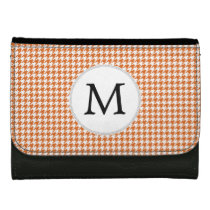 Personalized Monogram Orange Houndstooth Pattern Wallet For Women